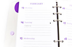 Organizer open on the Valentine's day date Royalty Free Stock Photo