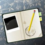 Organizer. On a pattern background can be used for website decoration, icon or holiday design Royalty Free Stock Photos