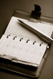 Organizer and pen. (shallow DOF Stock Photography