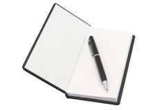 Organizer with pen. White background. Isolated object Royalty Free Stock Photography
