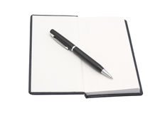Organizer with pen. White background. Stock Photos