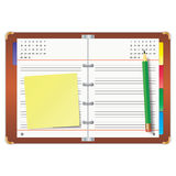 Organizer and pencil. Organizer with the yellow sticky note and green pencil Royalty Free Stock Photos