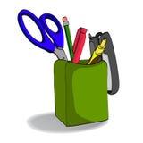 Organizer with pencils. Scissors pen stapler. Holder Royalty Free Stock Photography