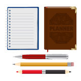 Organizer, planner, pen and pensil Stock Photography