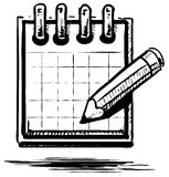 Organizer or planner with pencil Stock Photos