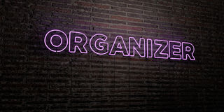 ORGANIZER -Realistic Neon Sign on Brick Wall background - 3D rendered royalty free stock image Stock Image