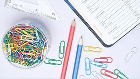 Organizer and stationery on working desk. Organizer and stationery on a white working desk Stock Image