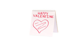 Organizer with Valentine greeting (isolated) Stock Photography
