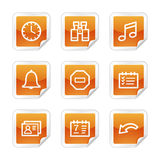 Organizer web icons. Vector web icons, orange glossy sticker series, V2