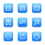 Organizer web icons. Vector web icons, blue glossy buttons series, V2