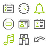 Organizer web icons. Vector web icons, green and gray contour series