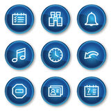 Organizer web icons, blue circle buttons Royalty Free Stock Photo