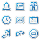Organizer web icons, blue contour sticker series Royalty Free Stock Photo