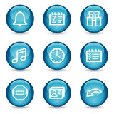 Organizer web icons, blue glossy sphere series Stock Photo