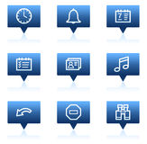 Organizer web icons, blue speech bubbles series Stock Photography