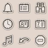 Organizer web icons, brown contour sticker series stock illustration