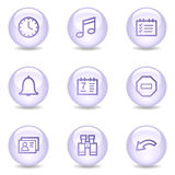 Organizer web icons, glossy pearl series Stock Image