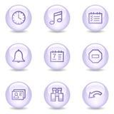 Organizer web icons, glossy pearl series Stock Image