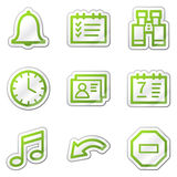 Organizer web icons, green contour sticker series. Web icons set. Easy to edit, scale and colorize vector illustration