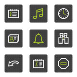 Organizer web icons, grey square buttons series Stock Images