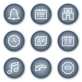 Organizer web icons, mineral circle buttons series. Vector web icons set. Easy to edit, scale and colorize Royalty Free Stock Photography