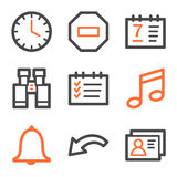 Organizer web icons, orange and gray contour Stock Image