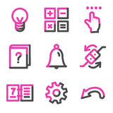 Organizer web icons, pink contour series Royalty Free Stock Photography