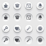 Organizer web icons on white buttons. Set 2. Royalty Free Stock Photos