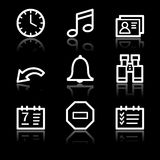 Organizer white contour web icons Royalty Free Stock Photo