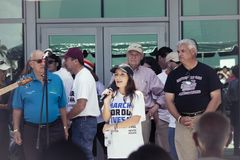 Organizers for March for Our Lives talking at Pembroke Pines Civic City Center. The organizer of the March For Our Lives talking to the crowd on Pembroke Pines Royalty Free Stock Photography