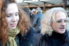 Organizers of 75th Anniversary of John Lennon festival  in Riga Stock Images