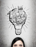 Organizing busineess process. A woman thinking about a project, a picture of a bulb with stages of organizing a business process in it over her head. Only eyes Royalty Free Stock Images