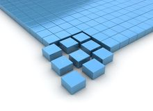 Organizing cubes. Organizing 3d rendered blue cubes isolated on white - building concept Royalty Free Stock Photography