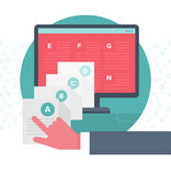 Organizing Digital Content. Flat design style concept of collecting, storing and organizing online content Royalty Free Stock Photography