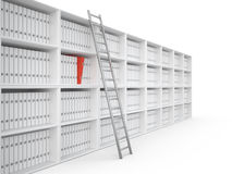 Organizing files, 3D. Organizing files in office bookcase, 3D Stock Images