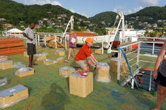 Organizing fireworks for bequia's new years eve celebration Royalty Free Stock Photography