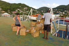 Organizing a fireworks display in the caribbean Stock Image
