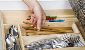 Organizing Kitchen Drawer Stock Images