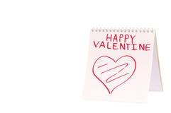 Organizzatore con il saluto del biglietto di S. Valentino (isolato) Fotografia Stock