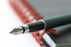 Organizzatore con la penna di fontana Immagini Stock