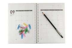 2014 organizzatore di settembre con la matita & le clip. Fotografia Stock