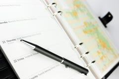 Organizzatore e penna Fotografie Stock Libere da Diritti