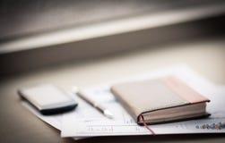 Organizzatore e penna personali Fotografia Stock Libera da Diritti