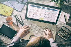 Organizzazione del pianificatore di piano di eventi del calendario immagini stock
