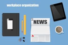 Organizzazione del posto di lavoro nel fondo piano del blu di stile Illustrazione Vettoriale