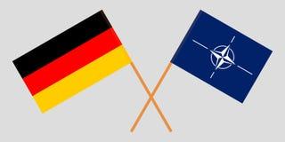 Organizzazione del trattato del nord Atlantico e la Germania La NATO e le bandiere tedesche Colori ufficiali Proporzione corretta illustrazione di stock