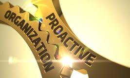 Organizzazione dinamica sugli ingranaggi metallici dorati 3d Immagine Stock Libera da Diritti