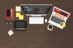 Organizzazione realistica del posto di lavoro Immagine Stock