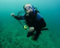 Organkoralle und Unterwasseratemgerättaucher Stockfotografie