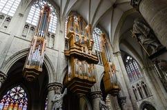 Organo del san Michael Cathedral a Bruxelles fotografie stock libere da diritti